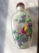 Antique Chinese Reverse Inside Painted Snuff Bottle Birds