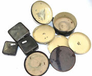 3 Antique Black Japanned Fly Fishing Cast And Baits Tins, One Unusual Domed L...
