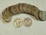 90 Silver Standing Liberty Quarters 40-coin Roll W/dates