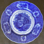 Antique 19c Oriental Wr England Flow Blue Plate Charger Finely Detailed Scenes