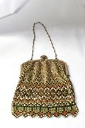 Whiting And Davis Flat Mesh Enamel Gold Tone Frame Bag C.1800and039s