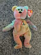 2 Versions Of Peace Bear Ty Beanie Baby Excellent Condition W/tag Errors