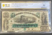 1861 100 One Hundred Dollars Confederate States Of America, T-5, Pcgs Vf-30