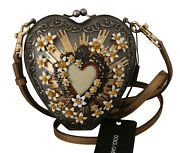 Dolce And Gabbana Bag Purse Gray Crystal Cuore Gold Leather Clutch Borse Rrp 6500