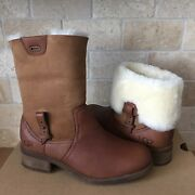 Ugg Chyler Demi Brown Leather Sheepskin Cuff Ankle / Short Boots Size Us 7 Women