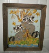 Vtg Original Watercolor Painting Of Chip N Dale Chipmunk Farm House Frame And An