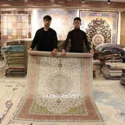 Yilong 5and039x8and039 Pink Handmade Silk Parlor Medallion Carpets Hand-knotted Rugs 457b