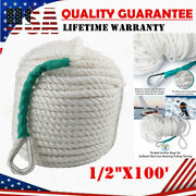 1/2x100and039 Twisted Braided Three Strand Nylon Boat Yacht Anchor Dock Mooring Rope