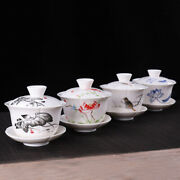 Newly Listed Porcelain Gaiwan Cup Bowl With Coaster Handpainted Tureen Cover Lid