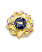 Vintage 18k Yellow Gold Swallow And Stars Enamel Pin