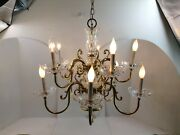 Chandelier Nachtmann Crystal 10 Lights With Arms Antique West Germany 24