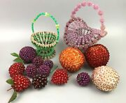 Vintage Handmade Crafted Beaded Fruit And Baskets