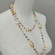 Cultured White Keshi Pearl Multi Color Enamel Ring Chain Long Necklace 46