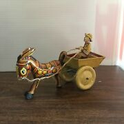 Vintage Marx Wind Up Tin Toy. Donkey W/ Cart And Driver. 1948.works