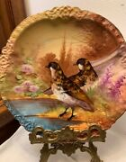 Antique Limoges Hand Painted Game Bird Plate Signed By A Grosbras 1890-1914