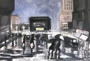 American Impressionistic Street Scene With Old Cars Oil Painting By Cindy Shaoul