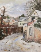 American Impressionistic Town Snow Scene With Figures Painting By Cindy Shaoul
