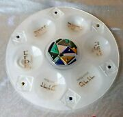 Jewish Seder Plate. Frosted Art Glass, Gold Letter, Iridescent Color Judaica