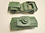 Tootsie Toy Military Tank And Jeep - Antique-original Paint - Lot Of 2