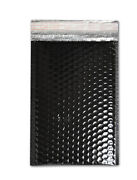 2500 Pieces Glamour Black Metallic Poly Bubble Padded Mailer 7 ½ X 11 Inches