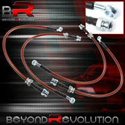 For 91-94 Nissan Sentra High Performance Racing Red Braided Oil Brake Line Black