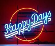 New Happy Days Neon Light Sign 20x16 Bar Cave Artwork Gift Real Glass Handmade