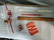 Cocacola Mixed Lot Of 7 Itemsvintage Unused Playing Cardscube Straws Etc.