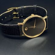 Movado Vintage 14k Gold Sapphire Crystal. Museum Watch.