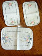 Vintage French Provincial Grandma's Table Linens Set Of 3 Hand Stitched ❤️tb11j