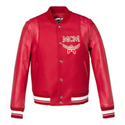 1390 Mcm Menand039s Ruby Red Leather Wool Cashmere Stadium Bomber Jacket Mhj9mm15ru