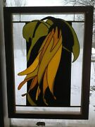 Brobdingnagian Sessile Bellwort.flowers In Stained Glass Panels