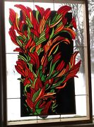 Brobdingnagian Paintbrush.flowers In Stained Glass Panels