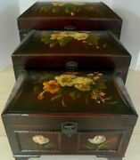 Mcm Set Of 3 Graduated Sizes Hand Painted Decorative Storage/room Accent Boxes