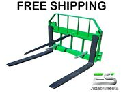 Free Shipping - Es John Deere Combo 49 Spear 42 Pallet Forks Jd Quick Attach