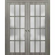 64 X 80 Sliding Double Pocket Doors Frosted Glass   Felicia 3312 Ginger Ash