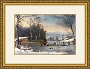 Currier And Ives - Winter In The Country Print Newly Custom Gallery Framed