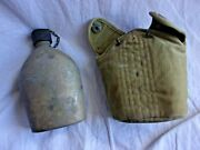 World War 2 Us Military Army Water Canteen W/ Canvas Cover