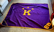 Vintage 1968 Chain Stiched Chenille Patch Purple/mustard Large Wool Blanket