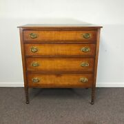 19th Century New England Cherry And Tiger Maple Sheraton Chest Of Drawer