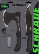 Schrade Full Tang Axe And Bowie Knife Set W/sheaths And Sharpening Stone