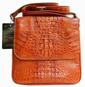 100 Genuine Crocodile Leather Menand039s Messenger Bag Double Zipand039s Shiny Tan Large