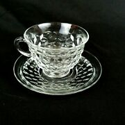 Fostoria American Clear Cube Tea Cup And Saucer Set Flared