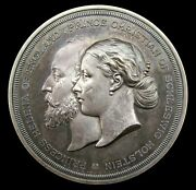 1866 Marriage Of Helena And Christian 64mm Silver Medal - By Wyon