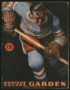 1944-45 New York Rangers Detroit Red Wings Program And Schedule Card Ted Lindsay