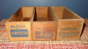 3 Old Primitive Wooden American Cheese 2 Lb Wood Boxes Green Bay Shefford Mel-o