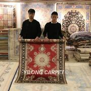 Yilong 4and039x6and039 Red Silk Handmade Area Rug Living Room Handwork Antique Carpet 022a