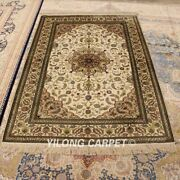 Yilong 4and039x6and039 Beige Silk Handmade Area Rug Classic Handwork Antique Carpet 108b