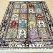 Yilong 4and039x6and039 Turkish Silk Rugs Handmade Carpets Blue Garden Scenes Knotted 0689