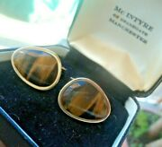Superb 9ct Yellow Gold And Tigers Eye Heavy Cufflinks Manchester Box - Not Plated