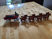 Vintage Cast Iron Beer Wagon Pulled By 8 Horse's